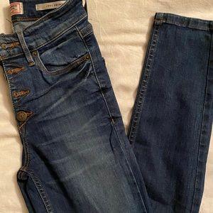 High waist button fly jeans